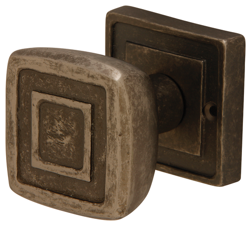 Tudor Forged Brass Mortice Knob On Square Rose Aged Black Nickel Finish