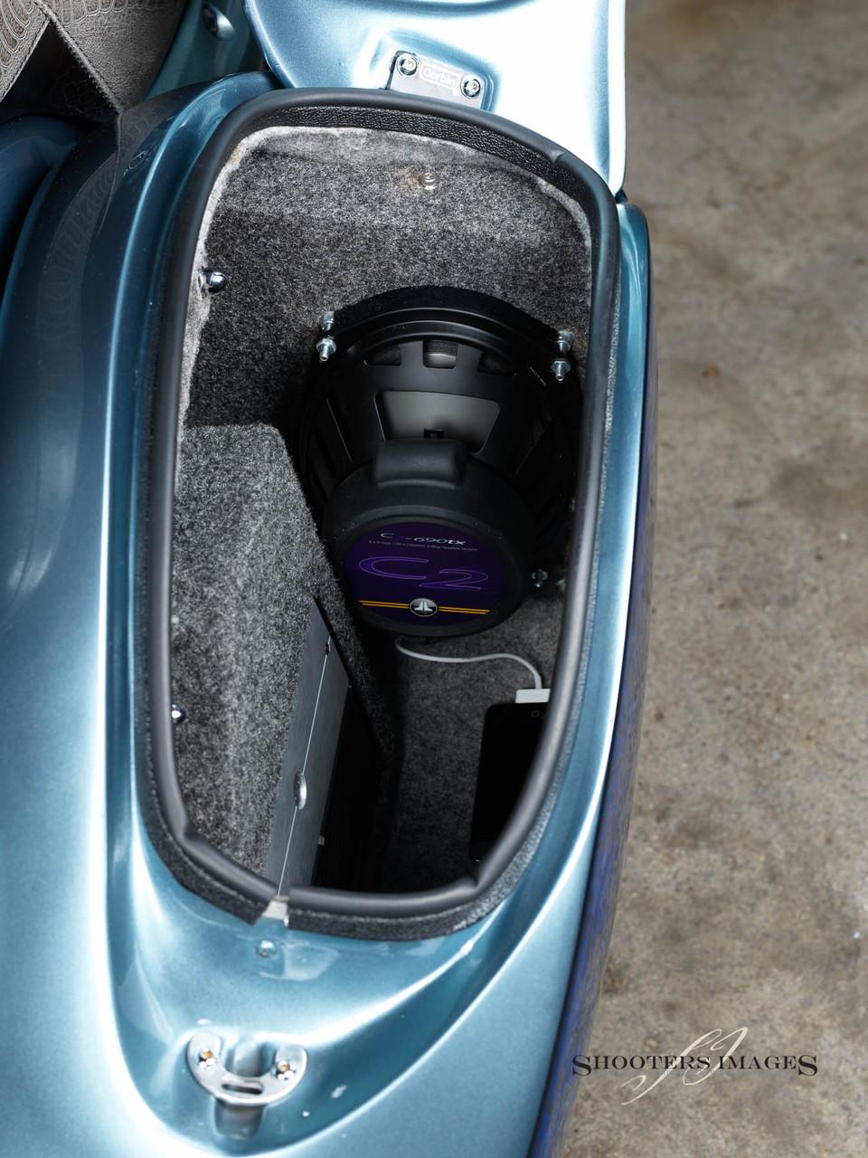 Blacksmith Phantom S Hard-bag for Star Roadliner and Stratoliner shown with optional audio speaker and amp mount