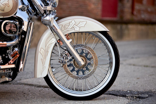 Blacksmith 21 inch front Ripple spoke wheel conversion Suzuki C50, Voluisa, VL800