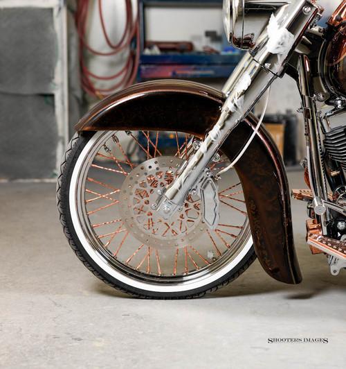 Blacksmith El Vato de Calle 21inch Copper/Chrome Spoke Wheel with Vato fender HD deluxe, springer, softail