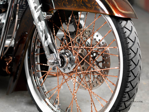 Blacksmith El Vato de Calle 21inch Copper/Chrome Ripple Spoke Wheel HD deluxe, springer, softail