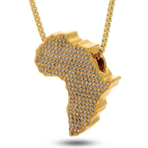 Mother Africa Diamond Pendant Necklace in 18K Gold