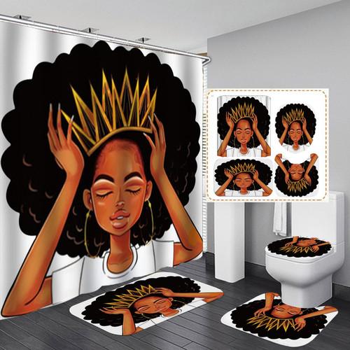 Black Queen Shower Curtain Afro Africa Girl