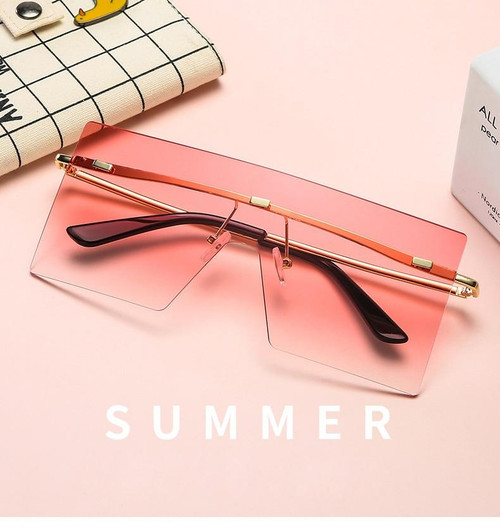Luxury Rimless Oversized Designer One Piece Sunglasses