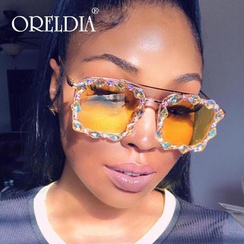 Crystal Punk Oversized Square Diamond Sunglasses