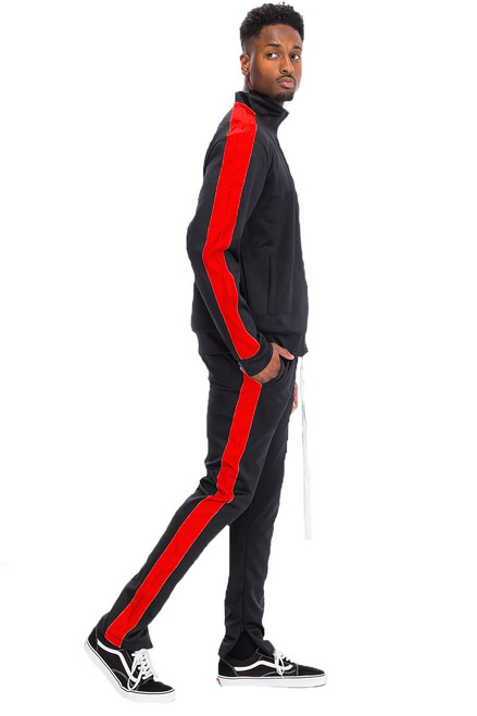 SINGLE STRIPE TRACK SET BLACK/RED