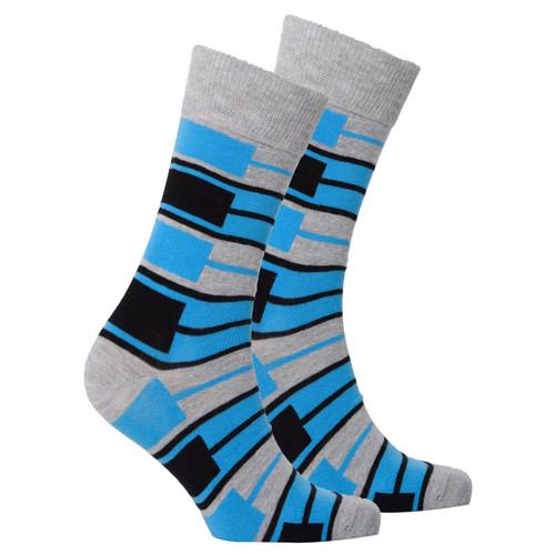 Men's Blue Patterned Socks