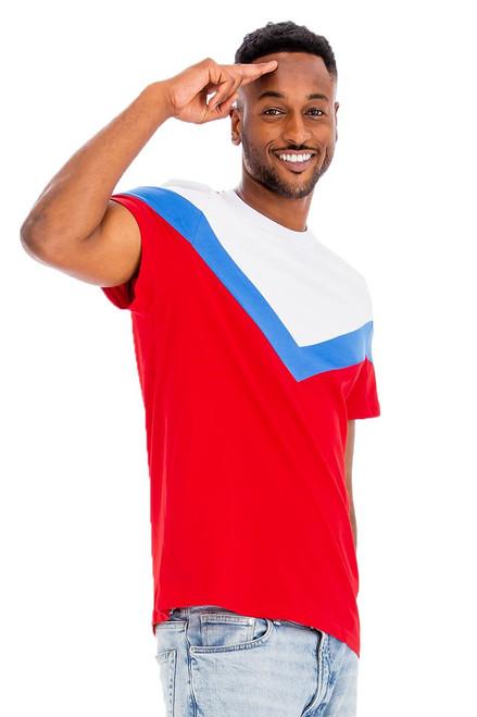Chevron ColorBlock T-Shirt  WHITE/BLUE/RED
