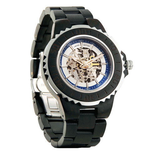 Genuine Automatic Ebony Wooden Watch (No Battery Needed)