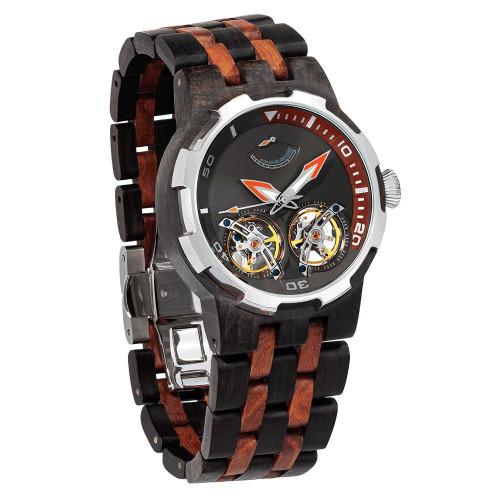 Dual Wheel Automatic Ebony Rosewood Watch