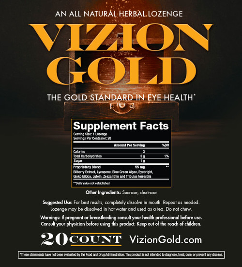VizionGold All Natural Herbal Lozenges Eye Health Cornea Cleansing Floaters Night Vision Perception