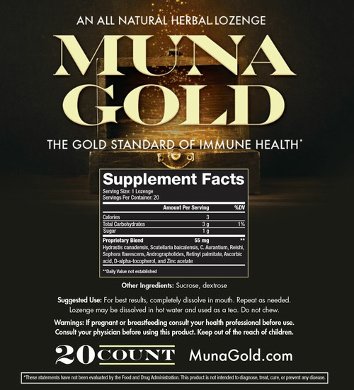 Muna Gold Homeopathic Herbal All Natural Lozenges Respiratory Anti Inflammatory Relief Tiredness Cough Headache Fever Congestion Itchiness Mucous Sore Throat Sniffles Aches