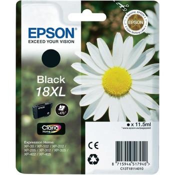 Genuine Epson 18XL (T1811) Black High Yield Inkjet Cartridge C13T18114010 (Daisy)