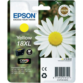 Genuine Epson 18XL (T1814) Yellow High Yield Inkjet Cartridge C13T18144010 (Daisy)