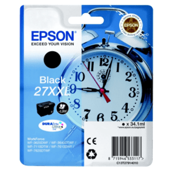 Genuine Epson 27XXL (T2711) Black High Yield Inkjet Cartridge C13T27114010 (Alarm Clock)