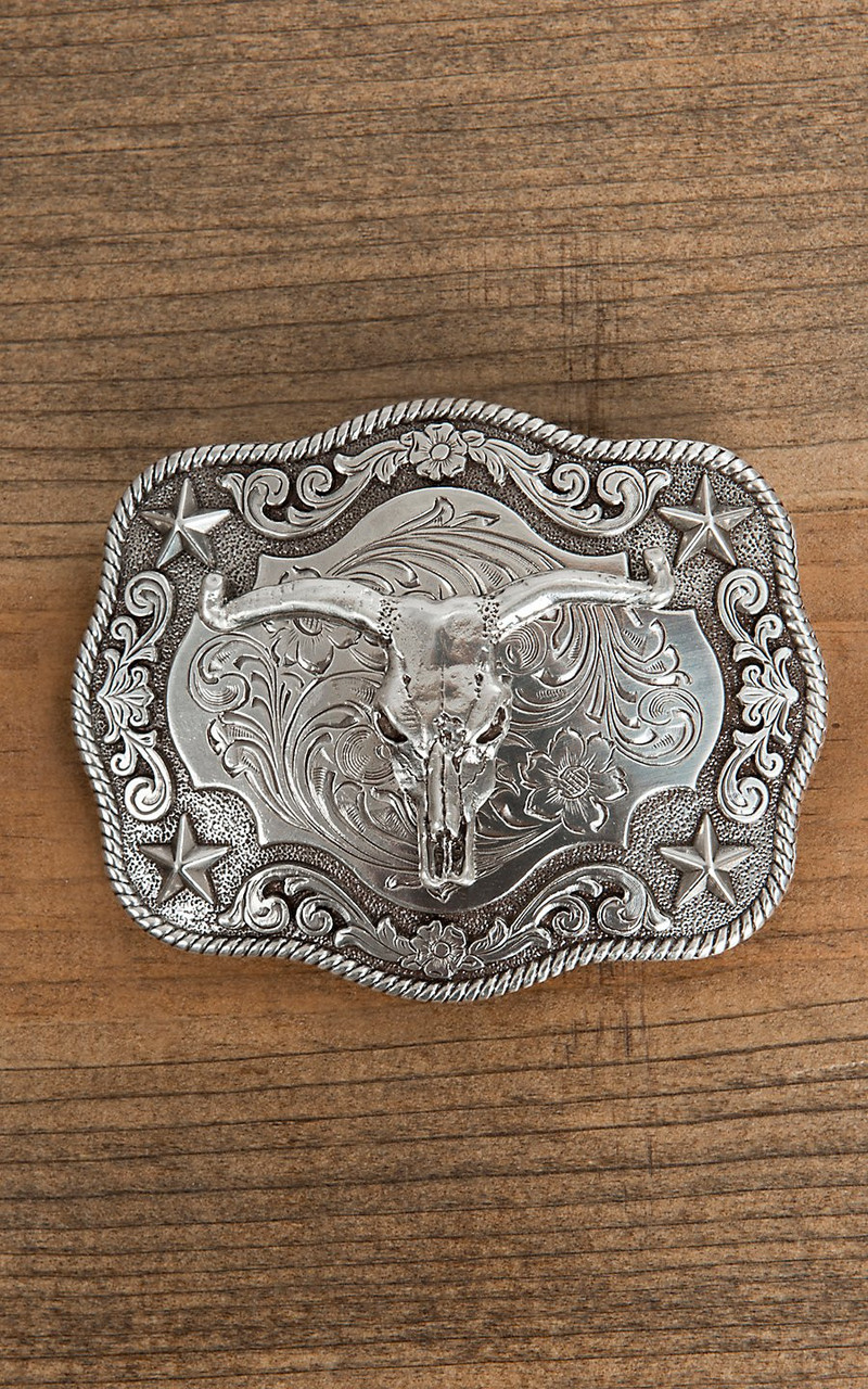 Nocona Mens Scaloped Rectangle Steer Buckle