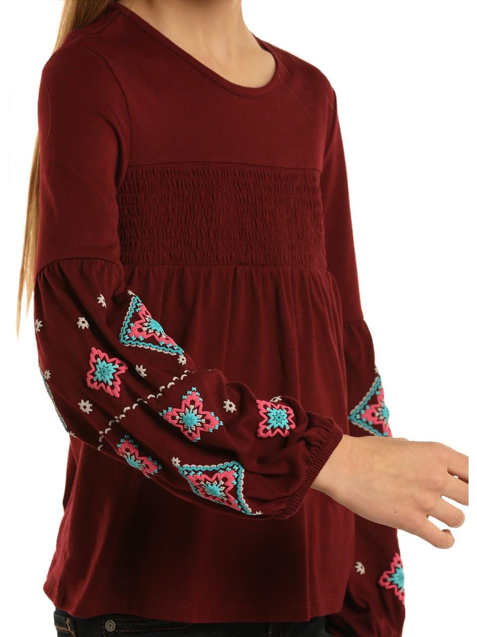 Rock /& Roll Cowgirl Girls Aztec Print Western Shirt