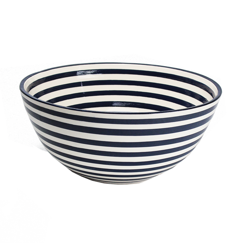 Deep Bowl Black/White Stripe
