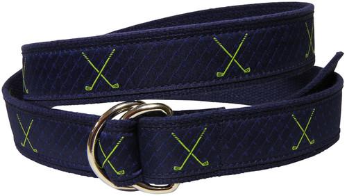 Cantaloupe Striped D Ring Ribbon Belt