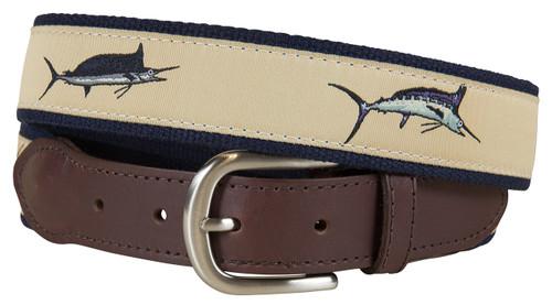 Bill Fish Leather Tab Belt