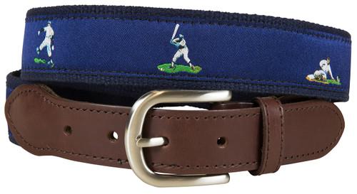Vintage Baseball Leather Tab Belt