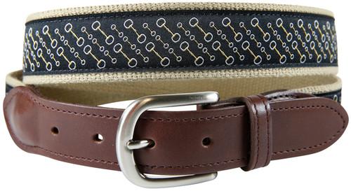 Snaffle Bit Leather Tab Belt