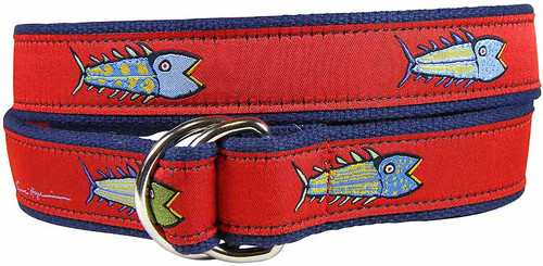 Hopkins Fish (red) D-ring Belt