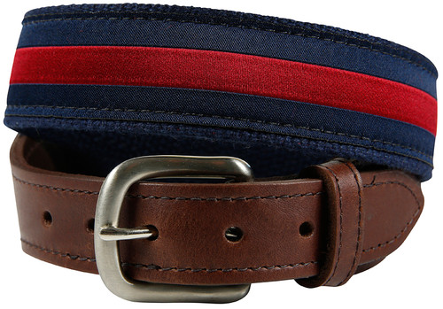 Youth Leather Tab Striped belt