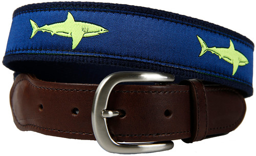 Shark Leather Tab Belt