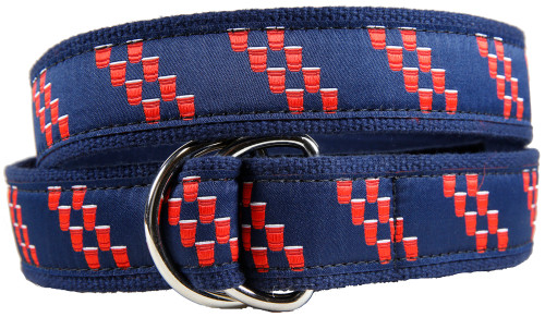 Red Cup Rep Stripe D-ring Belt