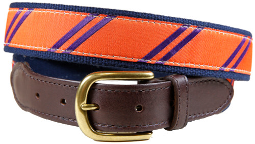 Rep Stripe (orange & purple) leather tab belt