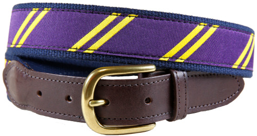 Rep Stripe (purple & yellow) leather tab belt