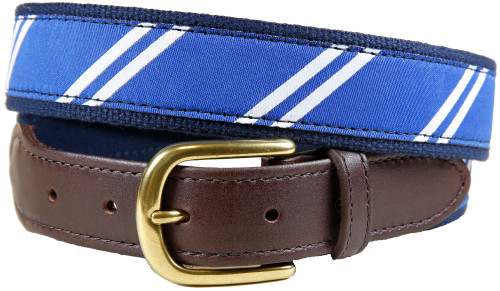 Rep Stripe (blue & white) leather tab belt