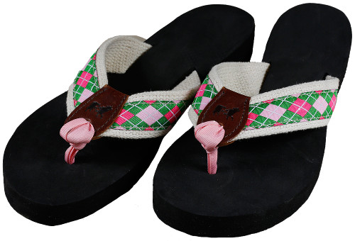 Pink & Green Argyle Flip Flops