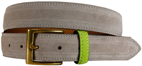 East Hampton Collection Grey Suede Belt With Lime Keeper