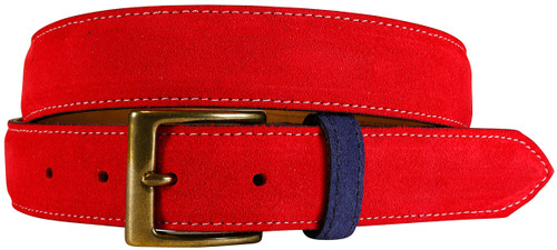 East Hampton Collection Red Suede Belt With Navy Keeper