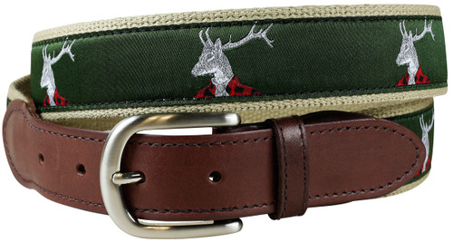 Dapper Stag Deer Leather Tab Belt
