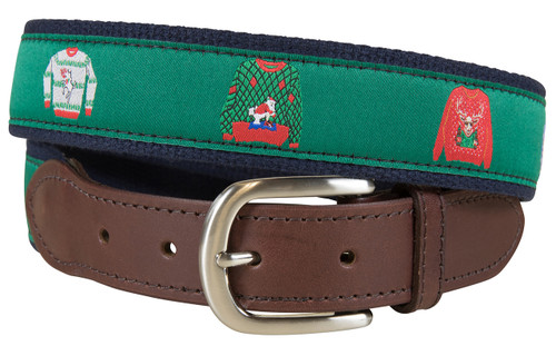 Ugly Christmas Sweater Leather Tab Belt