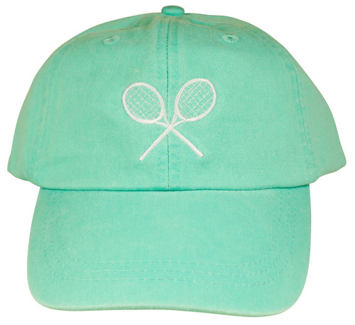 Embroidered Tennis Hat on Seafoam
