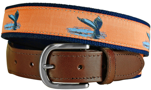 Whale Tail Leather Tab Belt