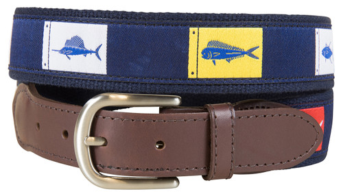 Fish Flags Leather Tab Belt