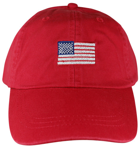 Embroidered US Flag Hat on Red