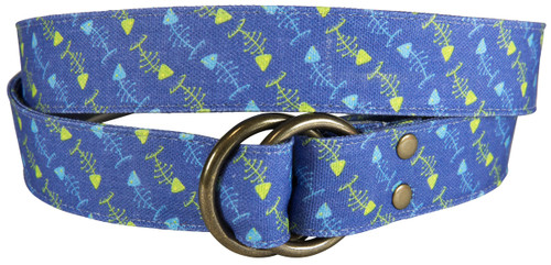 Bonefish Printed Canvas O-Ring Belt
