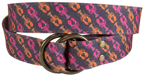 Lobsters Printed Canvas O-Ring Belt