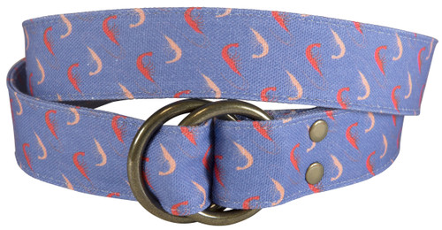 Shrimp Printed Canvas O-Ring Belt