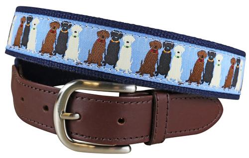 Three Labs (lt blue) Leather Tab Belt