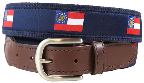 Georgia State Flag Leather Tab Belt