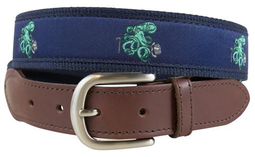 Octopus Leather Tab Belt
