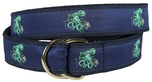 Octopus in Top Hat Youth D-ring Belt