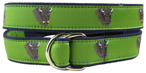 Buffalo in Bow Ties Youth D-ring Belt